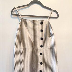 Pin strip button down dress